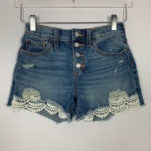 Old Navy High Waisted Lace Trim Shorts sz 12 Girls